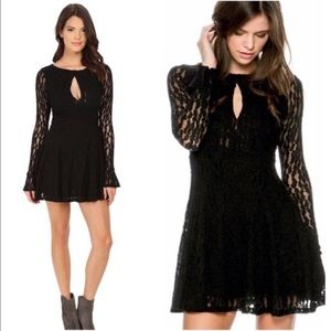 Free People Black Lace Keyhole Dress